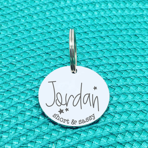Personalised Pet Tag, 'Short & Sassy' Design (Personalised Custom Engraved Dog Tag)