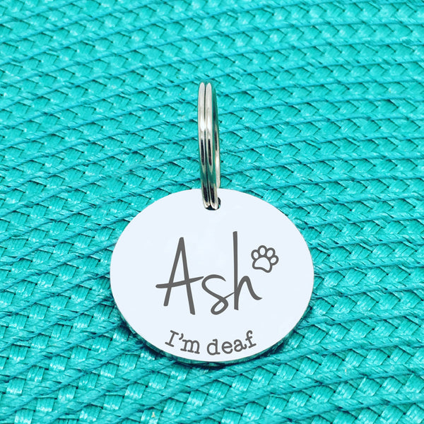 Personalised Pet Tag, 'Pluto' I'm Deaf Design (Personalised Custom Engraved Dog Tag)