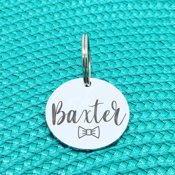 Engraved Custom Pet Tag Bow Tie Design (Personalised Dog Tag / Personalised Cat Tag)