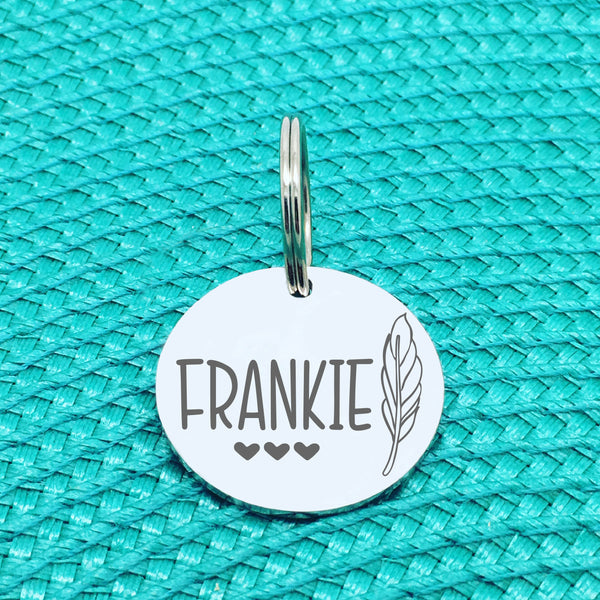 Personalised Pet Tag, Neville Design with Feather Image (Personalised Dog Tag / Personalised Cat Tag)
