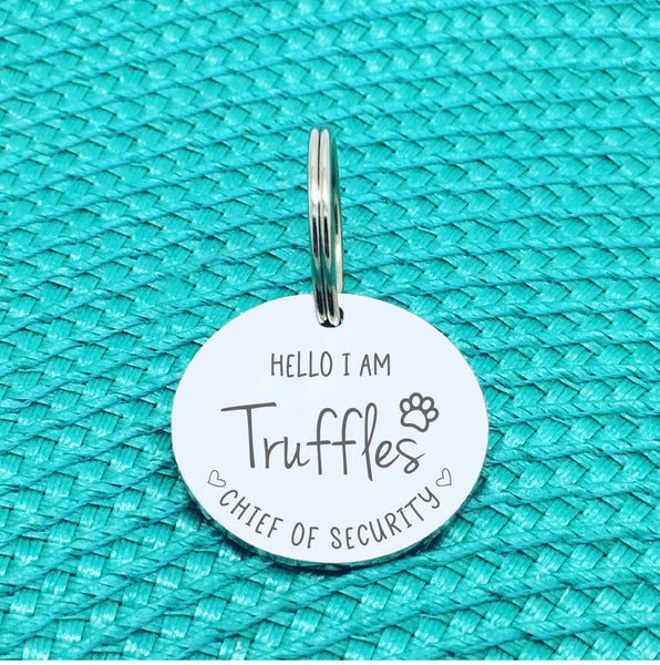 Personalised Pet Tag, 'Chief Of Security' Design (Personalised Custom Engraved Dog Tag)