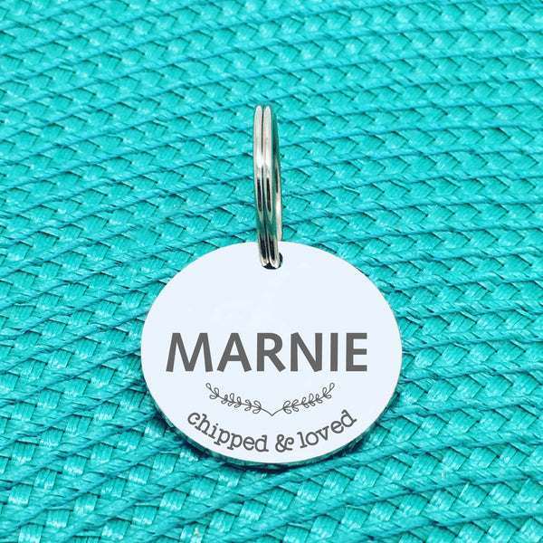 Personalised Pet Tag, 'Chipped & Loved' Design (Personalised Custom Engraved Dog Tag)