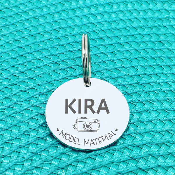 Personalised Pet Tag, 'Model Material' Design (Personalised Custom Engraved Dog Tag)