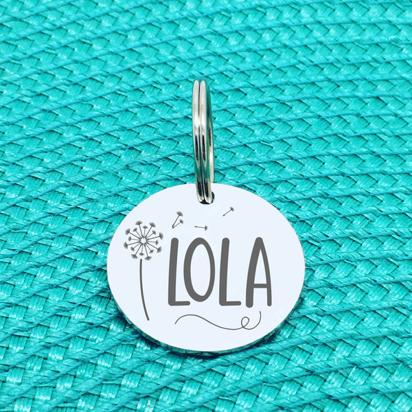Personalised Pet Tag, Lola Design with Dandelion Image (Personalised Dog Tag / Personalised Cat Tag)