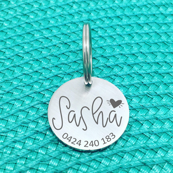 Matte Finish Personalised Dog Tag, Lucy Design with Solid Heart (Custom Dog Tag / Engraved Silver Dog Tag)