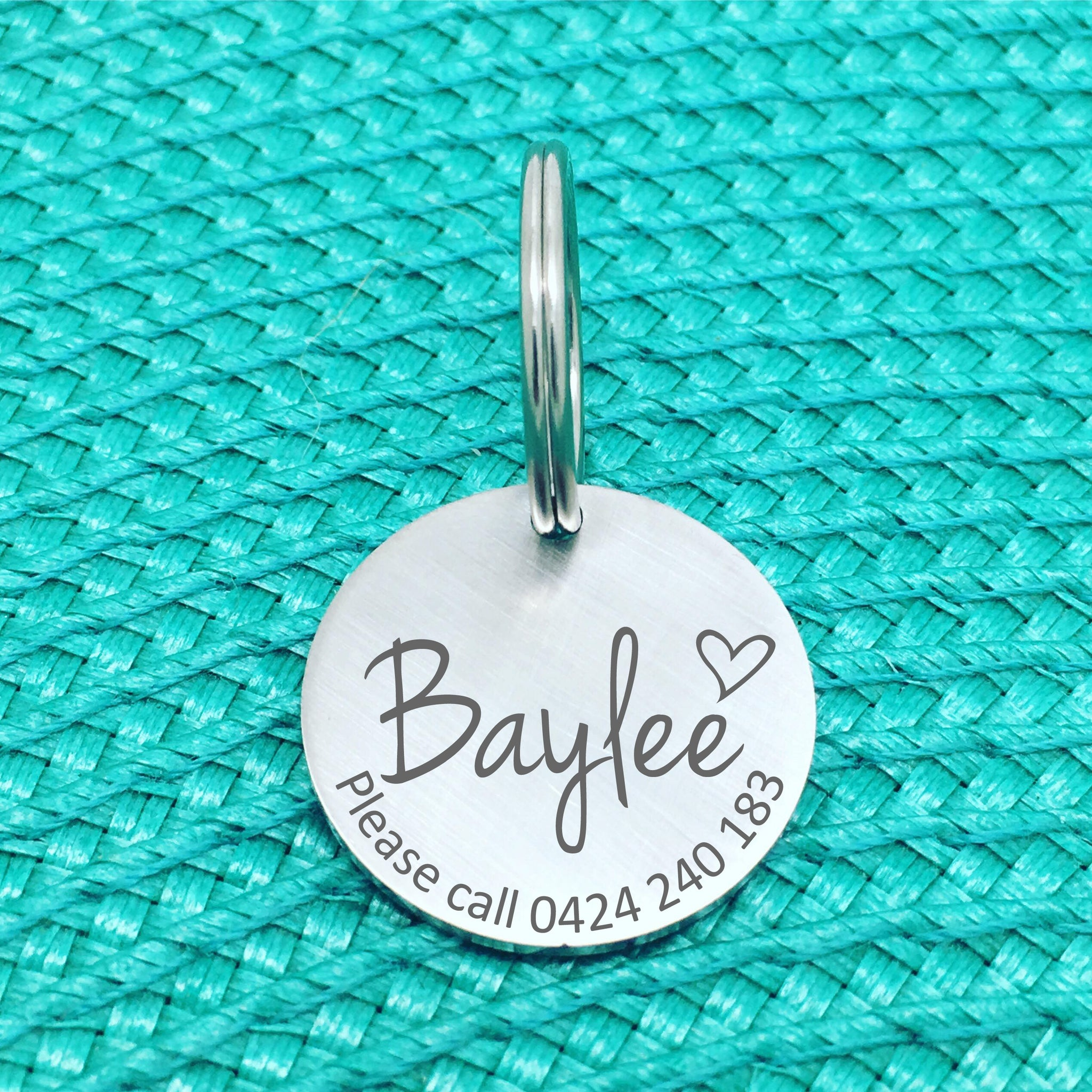 Matte Finish Personalised Dog Tag, Please Call with Heart (Custom Engraved Dog Tags / Dog Name Tags)