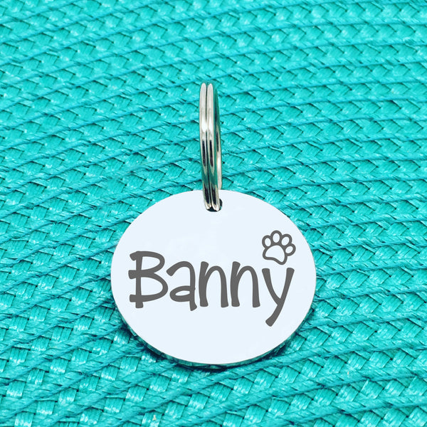Engraved Personalised Pet Tag Dude Paw Print Design (Personalised Dog Tag / Personalised Cat Tag)