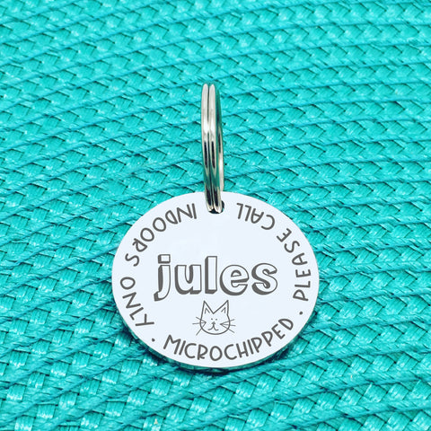 Personalised Cat Tag, Indoors Only, Microchipped, Please Call With Cat Face (Personalised Cat Tag / Custom Cat Tag)