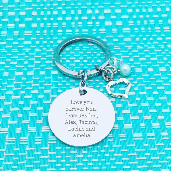 Family is Love Personalised Double Sided Keyring (Personalised Nanny Gift)