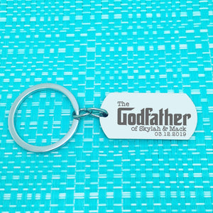 The Godfather Of, Personalised Godfather Keyring (Custom Godfather Gift, Add A Bottle Opener)
