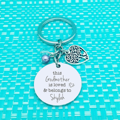 This Godmother Is Loved and Belongs To Personalised Keyring (Personalised Godparent Gift)