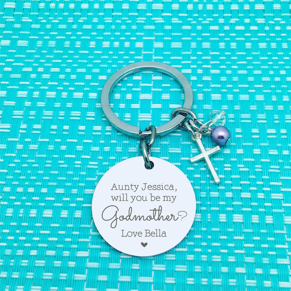 Will You Be My Godmother / Will You Be My Godfather, Godparent Proposal Personalised Keyring
