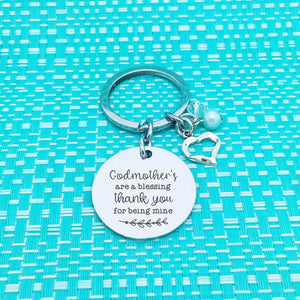 Godmothers Are A Blessing, Thank You For Being Mine Double Sided Personalised Keyring (Godmother Gift)