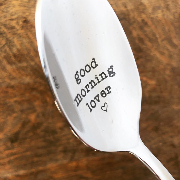Good Morning Lover Engraved Spoon (Unique Anniversary Gift, Valentines Day Gifts for Him)