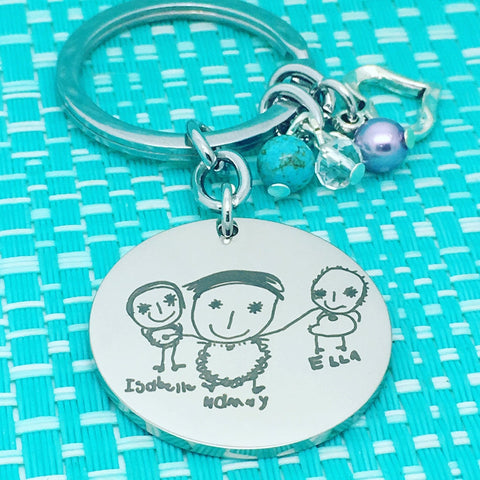 Personalised Keyring Featuring Your Handwriting Or Image (Plus, Add A Message To The Back)