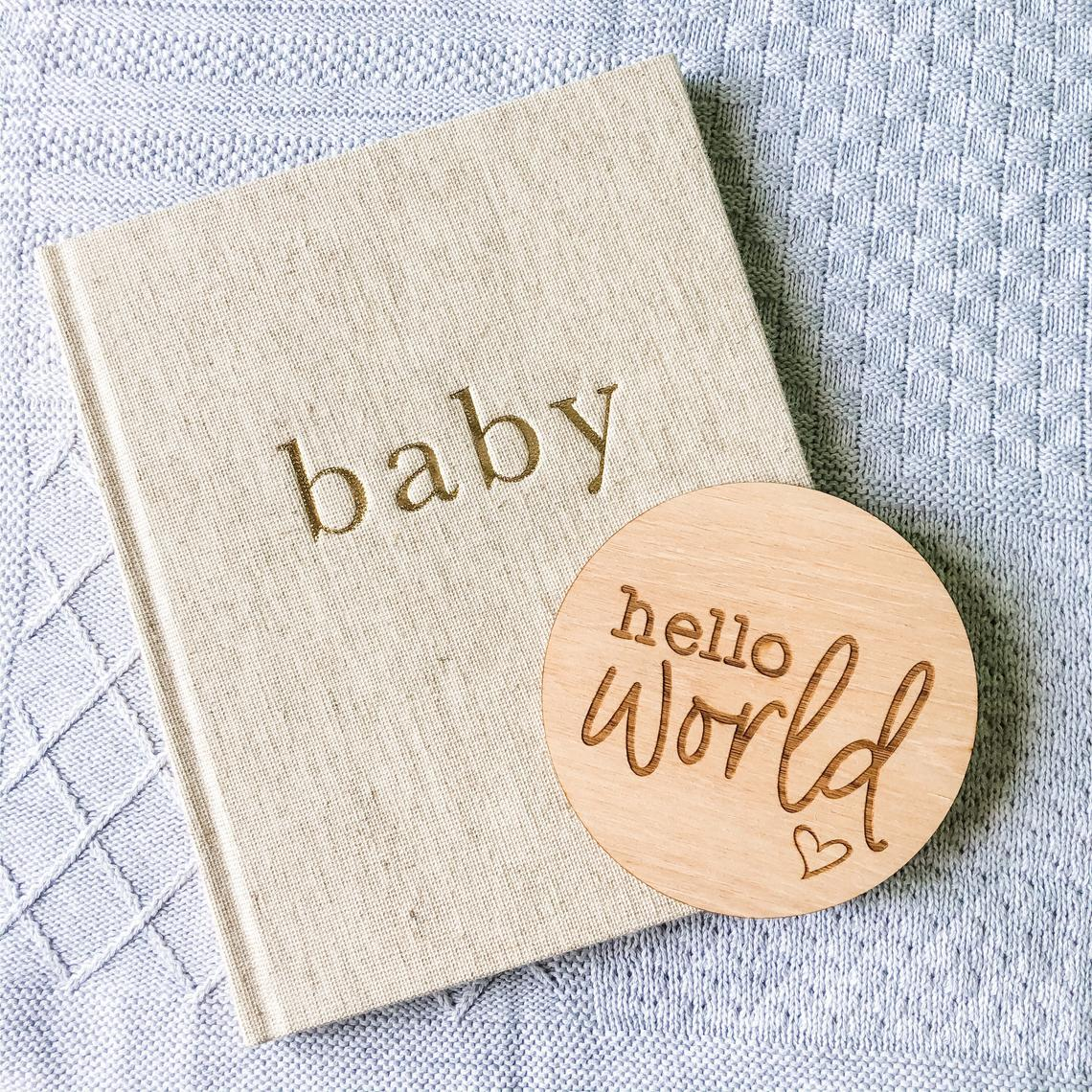 Hello World Baby Announcement Sign Heart Design (New Baby Arrival, Newborn Photo Prop)