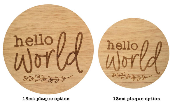 Hello World Baby Announcement Sign Floral Wreath Design (New Baby Arrival, Newborn Photo Prop)