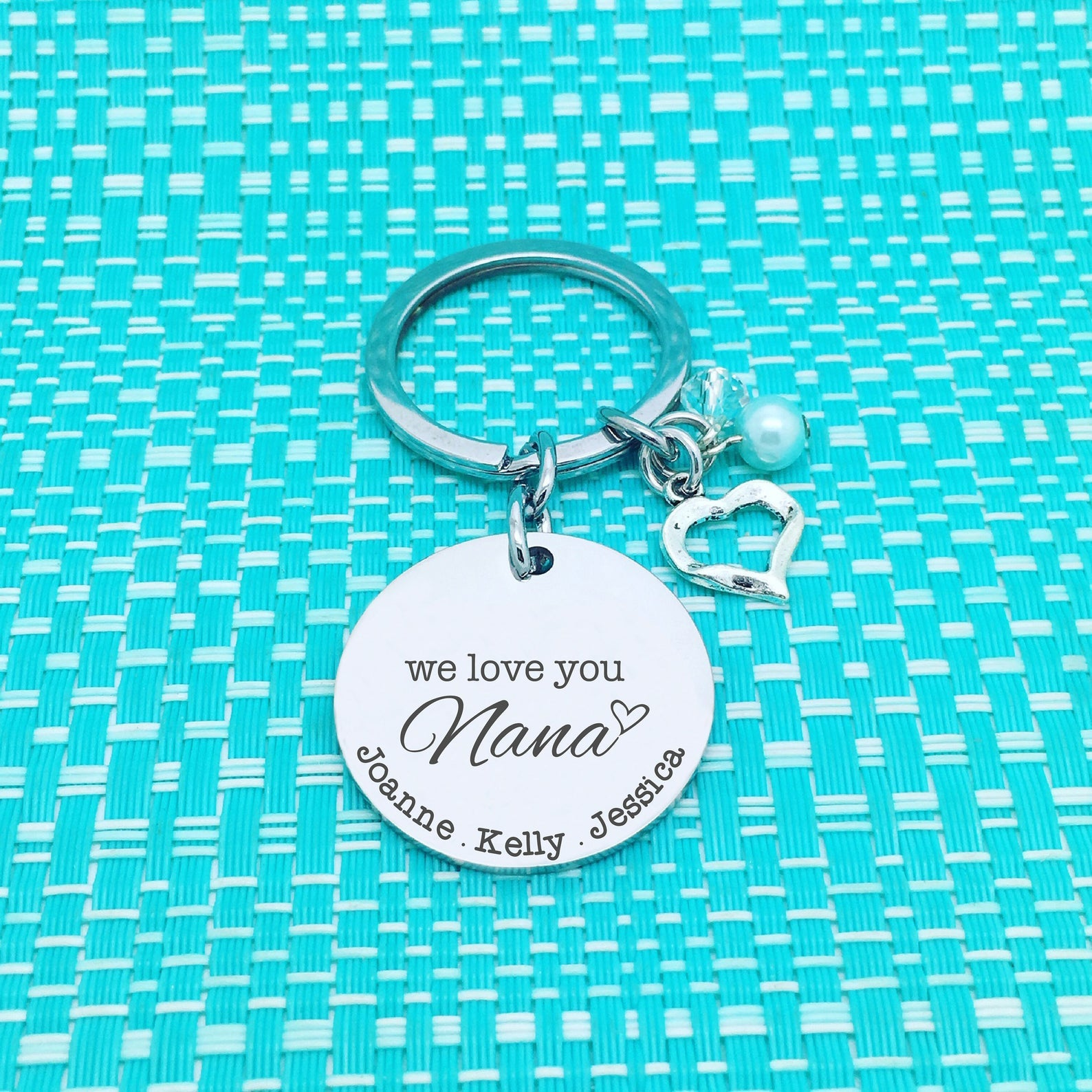We Love You Nana Personalised Keyring (Change Nana to another name of your choosing)