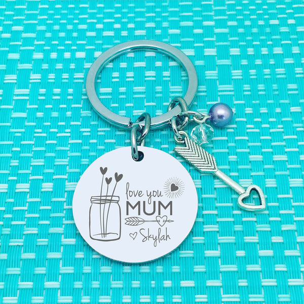 Love You Mum Personalised Keyring (Engraved Mum Keyring)