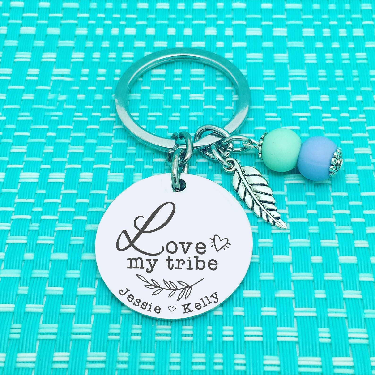 Love My Tribe Personalised Keyring (Change Mum to another name of your choosing)