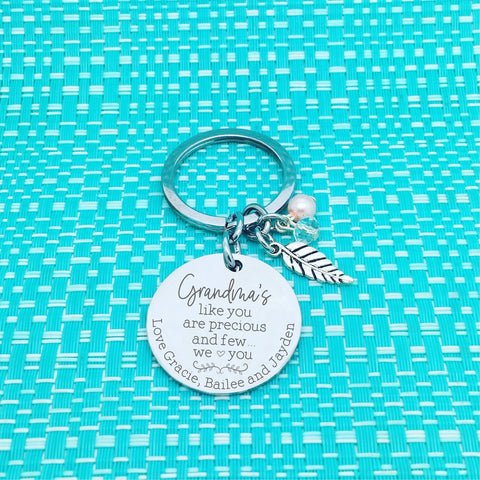 Nanny's Like You are Precious and Few Personalised Keyring (Change Grandma to another name of your choosing)