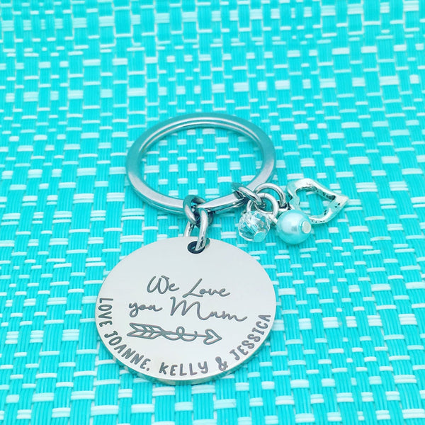 We Love You Mum Personalised Keyring (Change Mum to another name of your choosing)