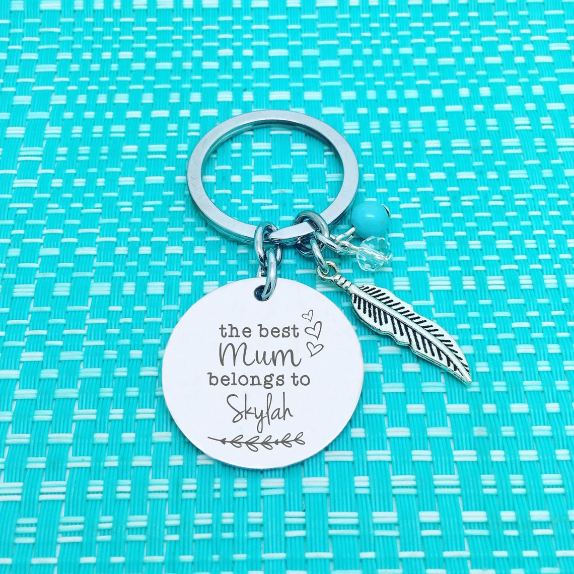 The Best Mum Belongs To Personalised Keyring (Change Mum to another name of your choosing)