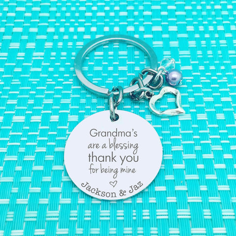 Grandma's Are A Blessing Personalised Keyring (Change Grandma to another name of your choosing)