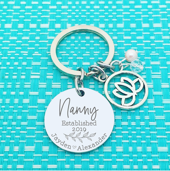 Nanny Established Personalised Keyring Lotus Charm Design (Change Nanny to another name of your choosing)