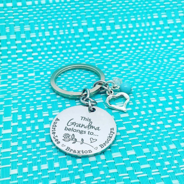This Grandma Belongs To Personalised Keyring (Change Grandma to another name of your choosing)