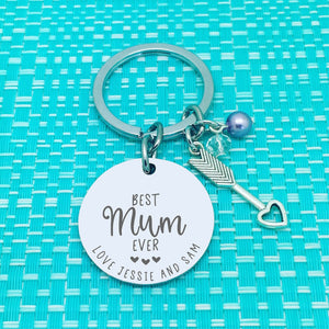 Best Mum Ever Personalised Keyring (Change Mum to another name of your choosing)