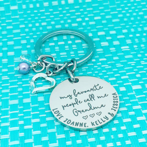 My Favourite People Call Me Grandma Personalised Keyring (Change Grandma to another name of your choosing)