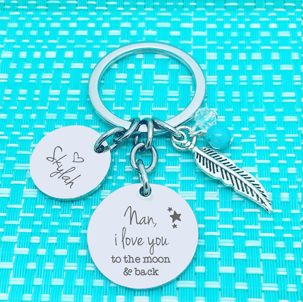 Mummy, We love you to the moon and back personalised keyring (change Mummy to a name of your choosing)