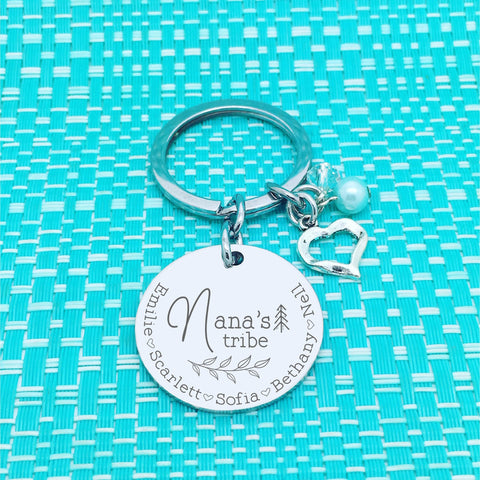 Nana's Tribe Personalised Keyring (Change Nana to another name of your choosing)