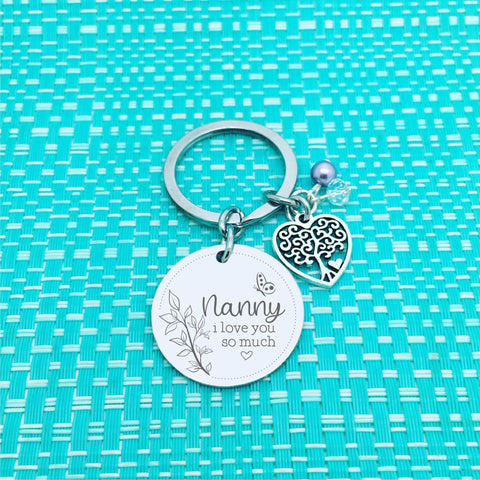 Best Nanny Ever Personalised Keyring, Double Sided Butterfly Design (Change Nanny to another name of your choosing)
