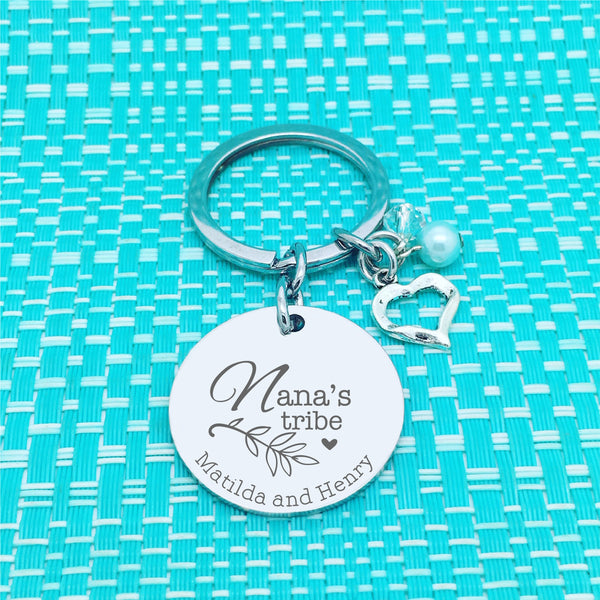 Nanny's Tribe Personalised Keyring (Change Nanny to another name of your choosing)