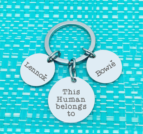 This Daddy Belongs To Multi Pendant Personalised Keyring (Dedicate to another person of your choosing)
