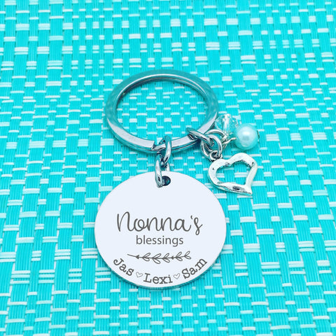 Nanna's Blessings Personalised Keyring (Change Nanna to another name of your choosing)