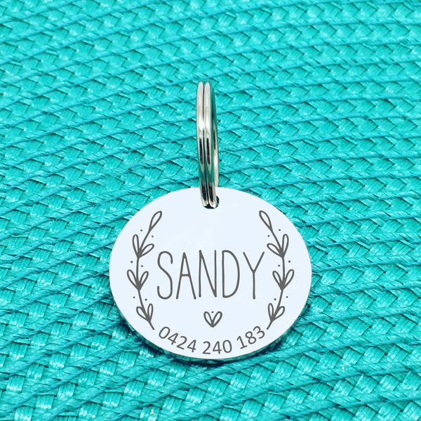 Engraved Personalised Pet Tag Penny Wreath Design