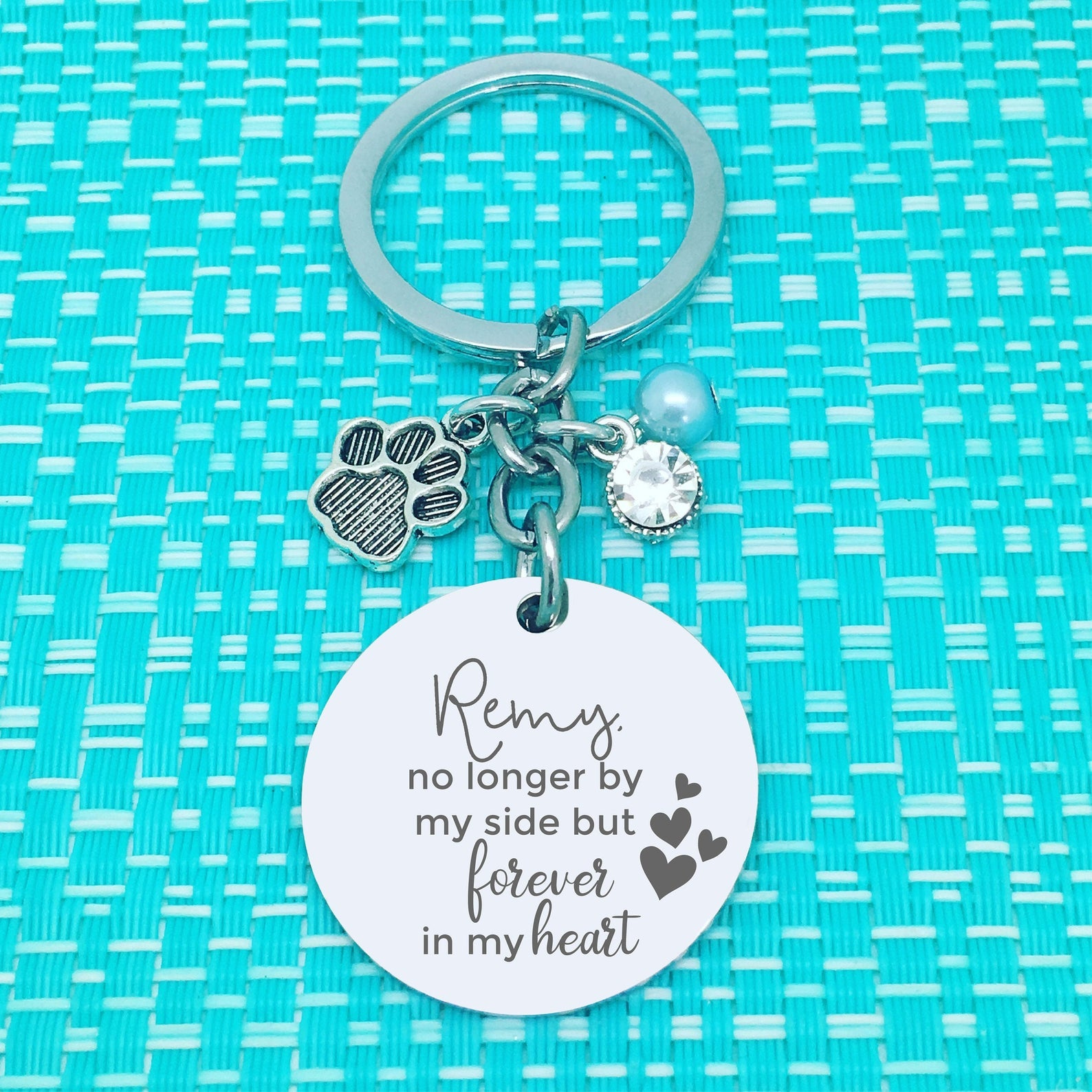 Pet Memorial Keychain, No Longer By My Side But Forever In My Heart Personalised Keyring