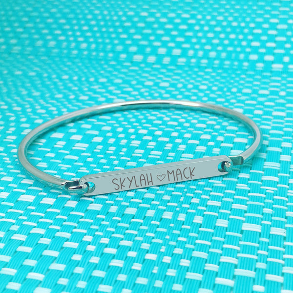 Personalised Bar Bangle, Engraved With Names Of Your Choosing (Custom ID Bangle)