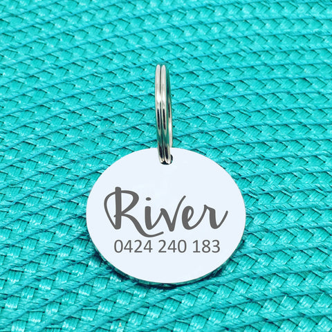 Simple Personalised Pet Tag, 'River' Design (Personalised Custom Engraved Dog Tag /  Personalised Cat Tag)
