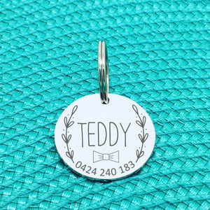 Personalised Pet Tag, Teddy Bow Tie / Wreath Design (Personalised Custom Engraved Dog Tag /  Personalised Cat Tag)