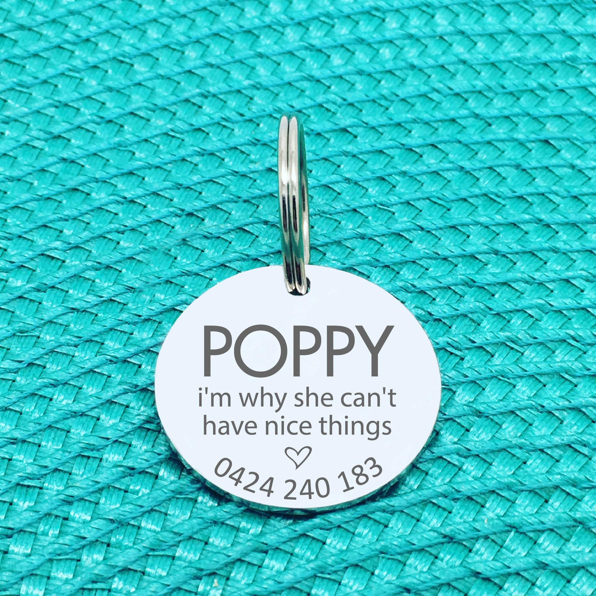 Personalised Pet Tag, I'm Why She Can't Have Nice Things Design (Personalised Custom Engraved Dog Tag)