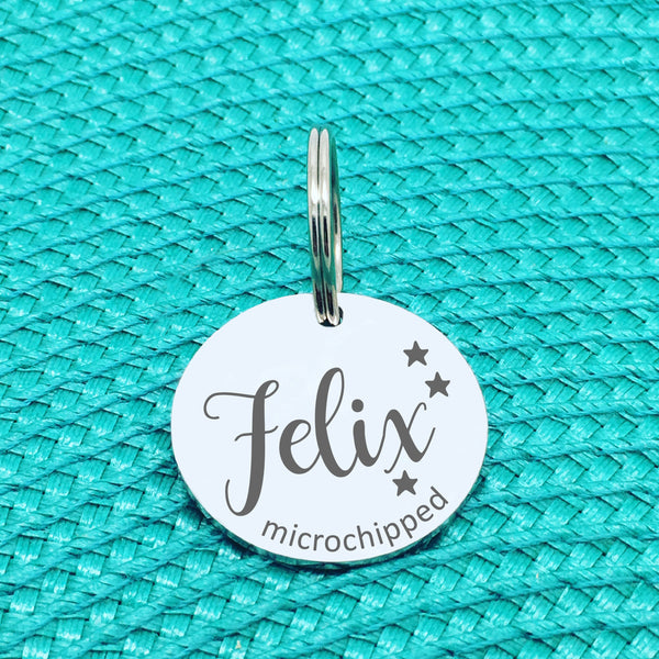 Personalised Pet Tag 'Duke' Microchipped Design (Custom Engraved Silver Dog Tag, Dog Name Tags)