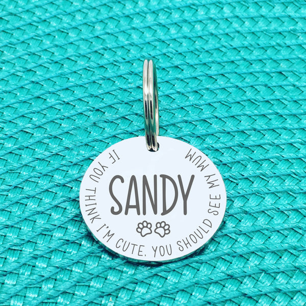 Personalised Pet Tag - If You Think I'm Cute You Should See My Mum Design (Custom Engraved Silver Dog Tag, Dog Name Tags)