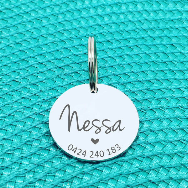 Personalised Pet Tag, Billie Heart Design (Personalised Custom Engraved Dog Tag /  Personalised Cat Tag)