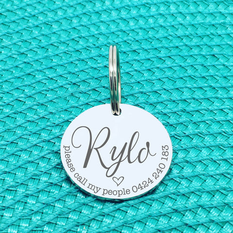 Personalised Pet Tag, Please Call My People, 'Rylo' Design (Custom Engraved Dog Tag)