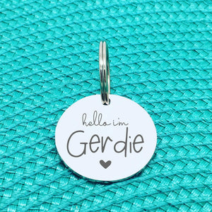 Personalised Pet Tag - Yes I'm Cute, No You Can't Keep Me, Double Sided 'Gerdie' Design (Personalised Dog Tag)