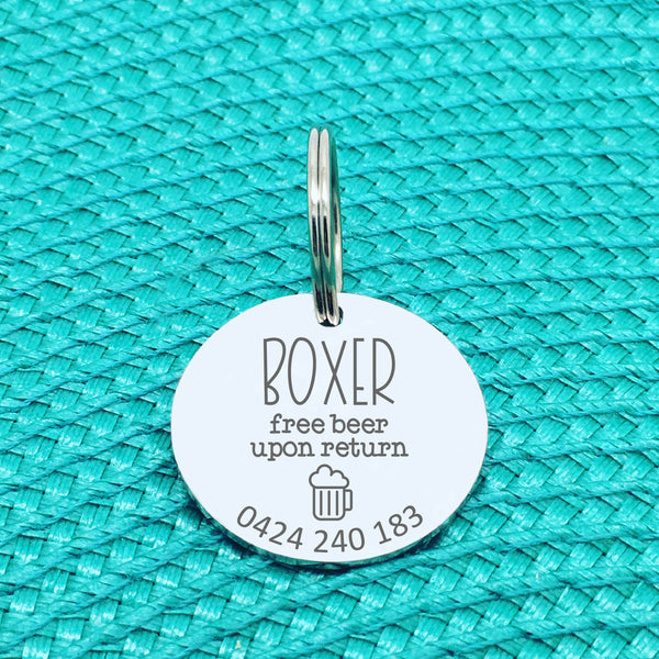 Personalised Pet Tag, Free Beer Upon Return, 'Schooner' Design (Personalised Custom Engraved Dog Tag /  Personalised Cat Tag)